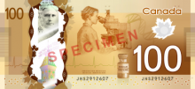 Canadian $100 note, back side, features the discovery of insulin to treat diabetes.